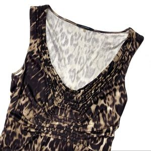 Elie Tahari Cheetah Print Sleeveless V-Neck Blouse